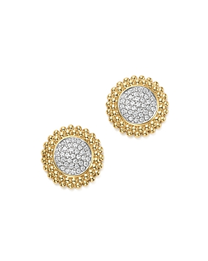 Diamond Micro Pave Beaded Stud Earrings in 14K Yellow Gold, 0.20 ct. t.w. - 100% Exclusive