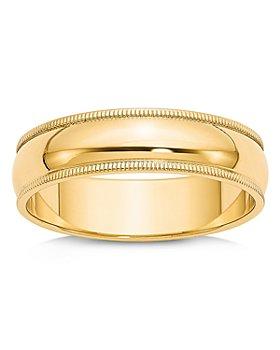 Bloomingdale's - Men's 6mm Milgrain Half Round Wedding Band 14K Yellow Gold - 100% Exclusive