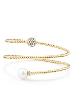David Yurman - Solari Coil Bracelet with Cultured Akoya Pearl and Diamonds in 18K Gold