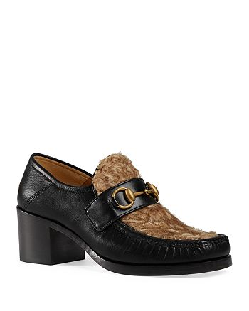 Gucci - Women's Vegas Leather & Lamb Fur Mid Heel Loafers
