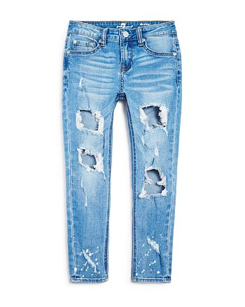 7 For All Mankind - Girls' Distressed Skinny Ankle Jeans - Big Kid