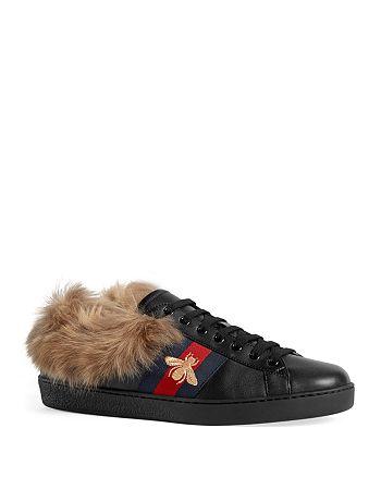 Gucci - Men's Bee Fur-Lined Sneakers