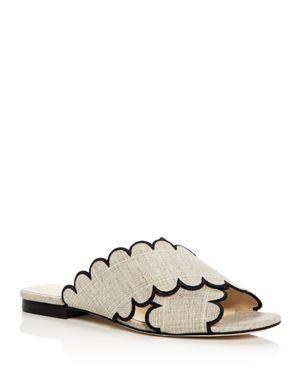 ISA TAPIA Women'S Nueva Linen Slide Sandals in Natural