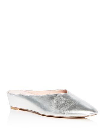 Avec Les Filles - Women's Bella Metallic Leather Demi Wedge Mules