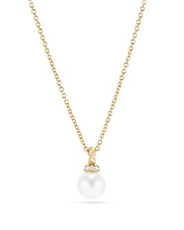 David Yurman - Solari Pendant Necklace with Cultured Akoya Pearl & Diamonds in 18K Gold