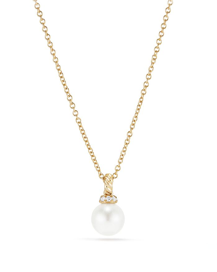 David Yurman - Solari Pendant Necklace with Cultured Akoya Pearl & Diamonds in 18K Gold