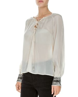 The Kooples Embellished Lace-Up Top