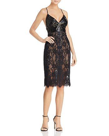 BCBGMAXAZRIA - Sequin-Bodice Lace Dress