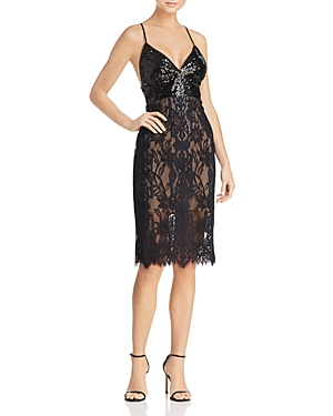 Bcbgmaxazria Sequin-Bodice Lace Dress