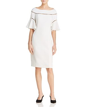 Laundry by Shelli Segal Pearl-Embellished Bell Sleeve Dress