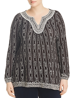 cbbd38a529d Lucky Brand Plus Trendy Plus Size Embroidered Peasant Top In Black Multi