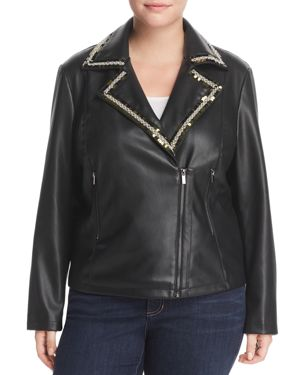 Bagatelle Plus Embellished-Trim Faux Leather Jacket