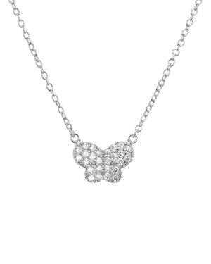 Aqua Sterling Silver Butterfly Pendant Necklace, 15 - 100% Exclusive