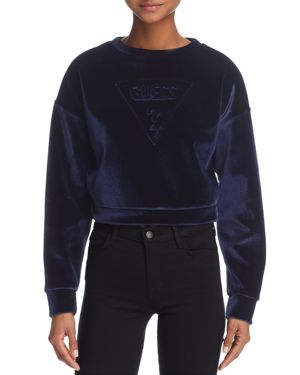 Guess Cropped Velvet Sweatshirt