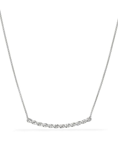 David Yurman - Paveflex Station Necklace with Diamonds in 18K White Gold