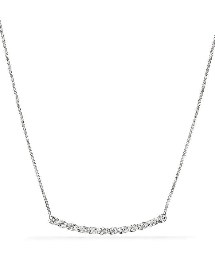 David Yurman - Paveflex Station Necklace with Diamonds in 18K White Gold