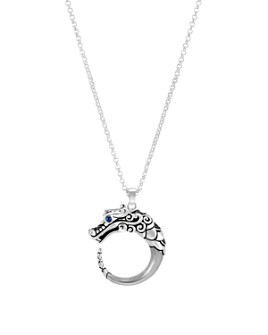 """JOHN HARDY - Brushed Sterling Silver Naga Pendant Necklace with Black Sapphire, Black Spinel and Blue Sapphire Eyes, 16"""""""
