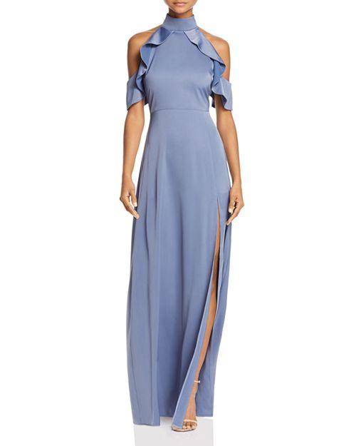 AQUA - Mock-Neck Ruffle Gown - 100% Exclusive