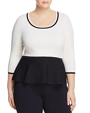 Marina Rinaldi Adri Color-Blocked Peplum Sweater