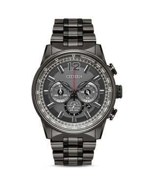 CITIZEN Eco-Drive Men'S Chronograph Nighthawk Gray Stainless Steel Bracelet Watch 43Mm in Grey