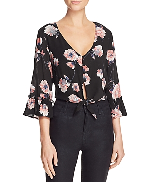 Cotton Candy La Floral Print Tie-Front Cropped Top