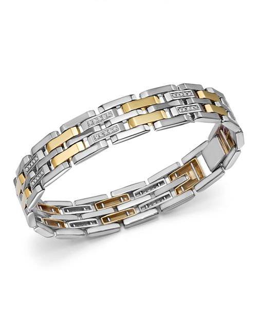 Bloomingdale's - Diamond Men's Bracelet in 14K Yellow Gold & Sterling Silver, 0.50 ct. t.w. - 100% Exclusive
