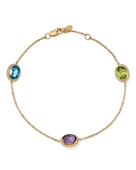 Bloomingdale's - Multi Gemstone Oval Station Bracelet in 14K Yellow Gold - 100% Exclusive
