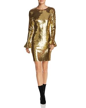 Michael Michael Kors Flounce-Sleeve Sequin Dress