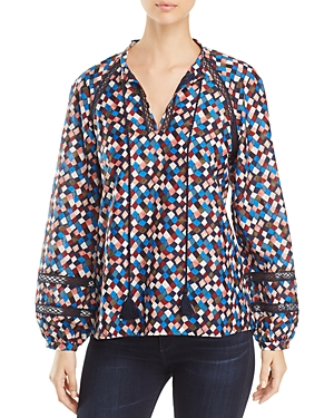Tory Burch Sonia Lace-Inset Printed Tunic