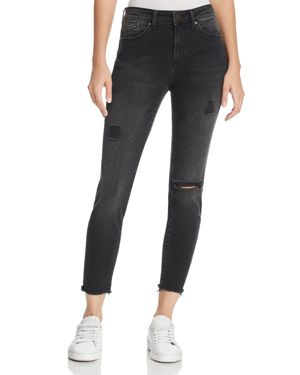 Alissa Ankle High Rise Super Skinny Jeans In Smoke Ripped Nolita