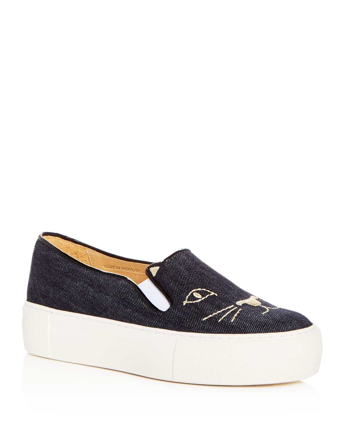 Women's Kitty Embroidered Denim Platform Slip On Sneakers by Charlotte Olympia