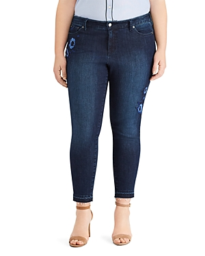 Lauren Ralph Lauren Plus Skinny Cropped Floral-Embroidered Jeans