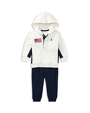 Ralph Lauren Childrenswear Boys American Flag Patch Hoodie  Joggers Set  Baby