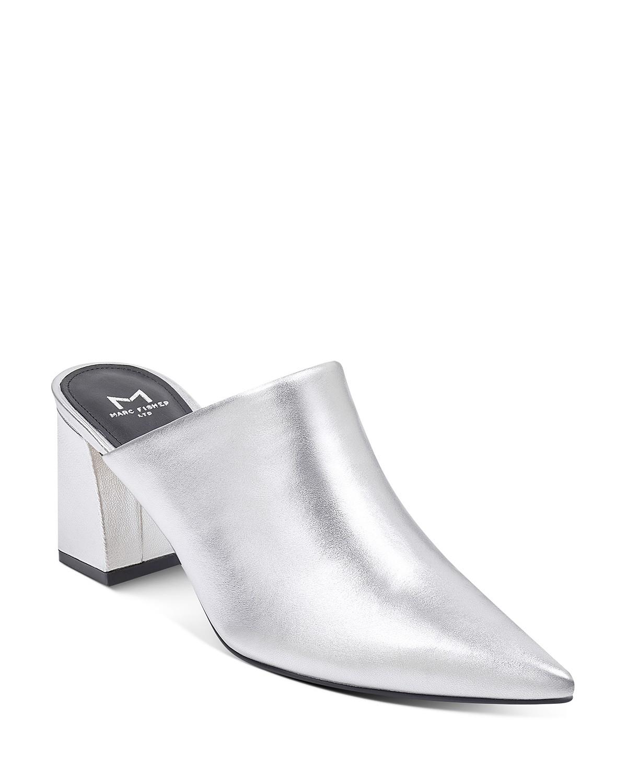 MARC FISHER Women's Zivon Leather Pointed Toe Block Heel Mules Y9YFK
