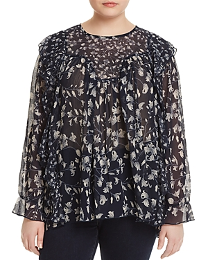New Lucky Brand Plus Sheer Floral-Print Ruffle Top, Blue Multi