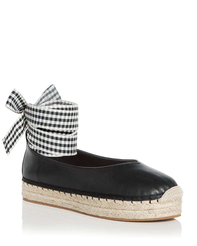 AVEC LES FILLES Women's Georgie Leather Ankle Tie Platform Espadrille Flats ye7NtrYAS