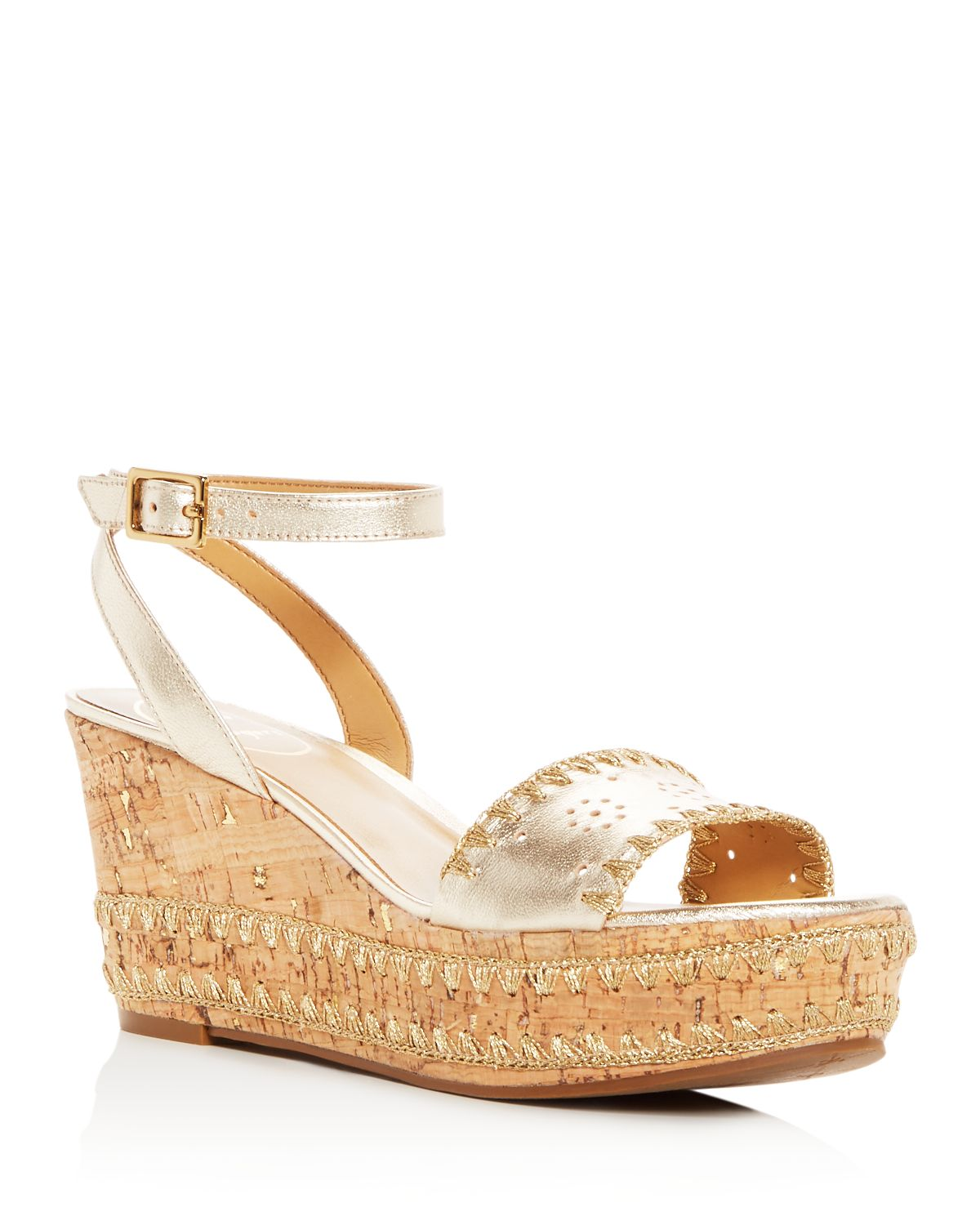 Jack Rogers Women's Lennon Leather & Cork Wedge Platform Sandals