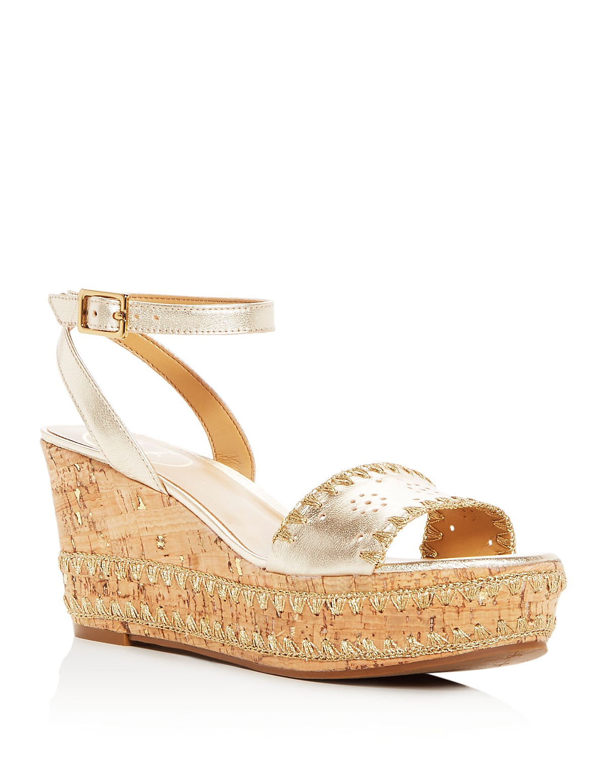 Jack Rogers Women's Lennon Leather & Cork Wedge Platform Sandals jejs34wfbR