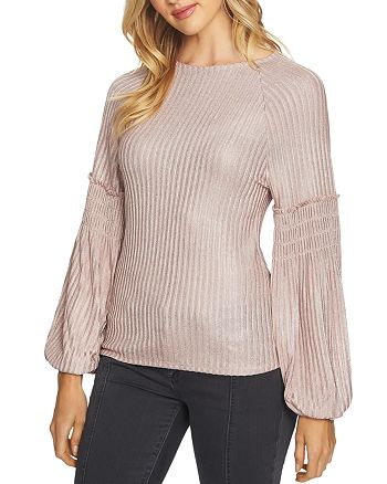 1.STATE - Foil Knit Balloon-Sleeve Top