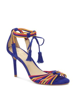 Vince Camuto Women's Stellima Leather Tasseled Ankle-Tie Sandals 2780658