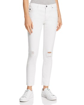 AG - Legging Ankle Jeans in White Torn - 100% Exclusive