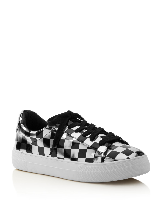 Aqua Women's Score Metallic Checkerboard Lace Up Sneakers - 100% Exclusive