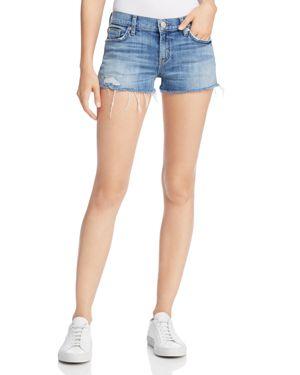 Kenzie Cutoff Denim Shorts In Manic Panic