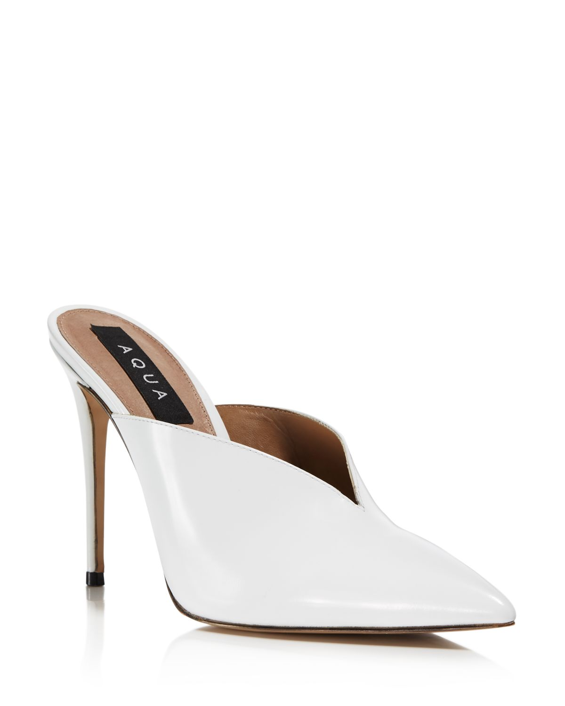Aqua Women's Pointed Toe High-Heel Mules - 100% Exclusive
