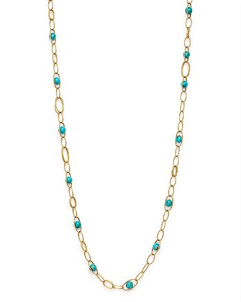 IPPOLITA - 18K Yellow Gold Nova Turquoise Oval Link Necklace, 36""