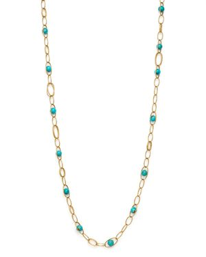 18K YELLOW GOLD NOVA TURQUOISE OVAL LINK NECKLACE, 36