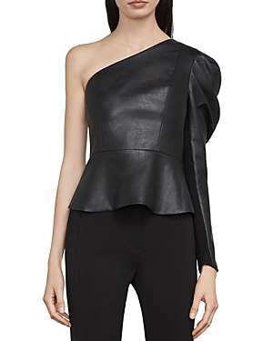 Bcbgmaxazria Lilyan One-Shoulder Faux Leather Top