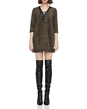 Bcbgmaxazria Yousra Lace-Up Faux Suede Dress