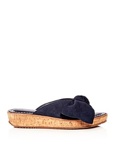 Bernardo - Women's Suede Bow Platform Slide Sandals