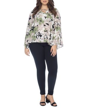 B COLLECTION BY BOBEAU CURVY DAWN FLORAL-PRINT BELL-SLEEVE BLOUSE